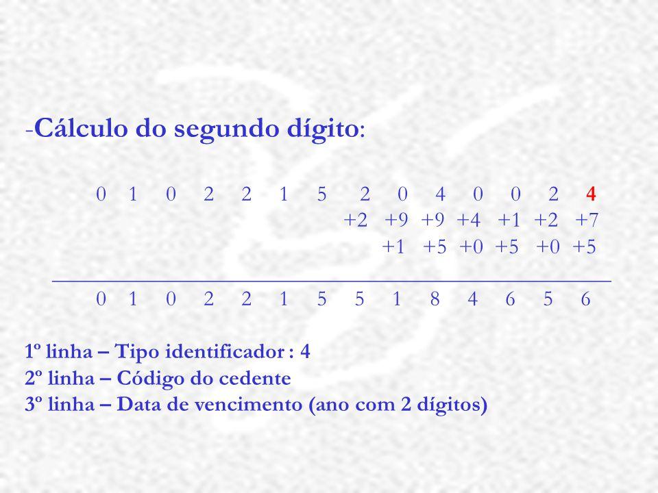Cálculo do segundo dígito: