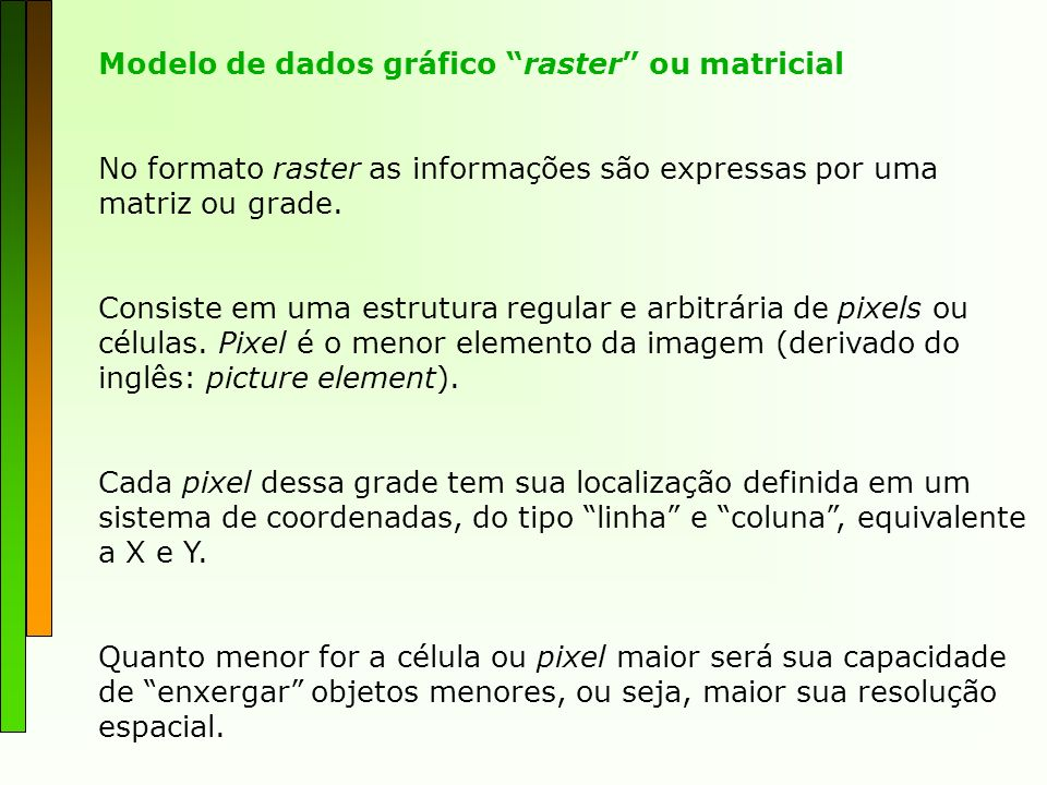 Modelo de dados gráfico raster ou matricial