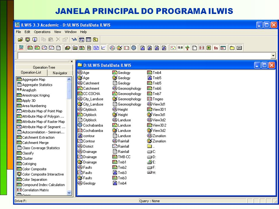 JANELA PRINCIPAL DO PROGRAMA ILWIS
