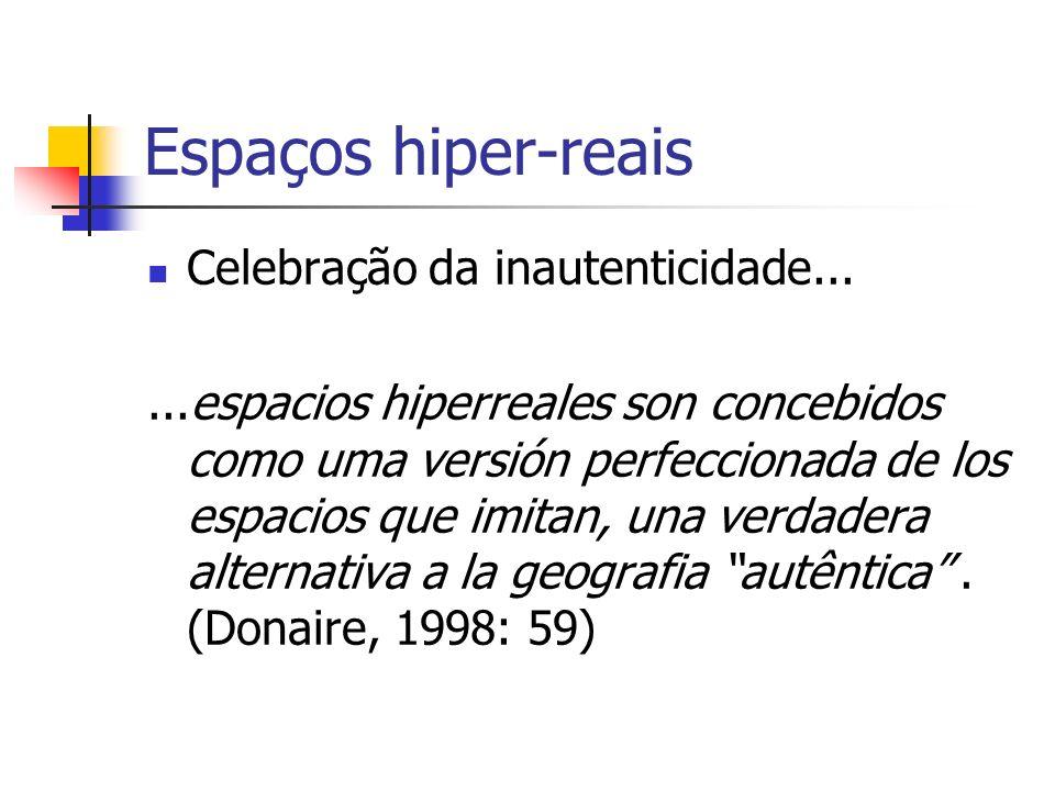 Espaços hiper-reais Celebração da inautenticidade...