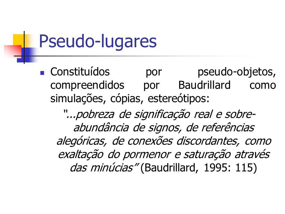 Pseudo-lugares Constituídos por pseudo-objetos, compreendidos por Baudrillard como simulações, cópias, estereótipos: