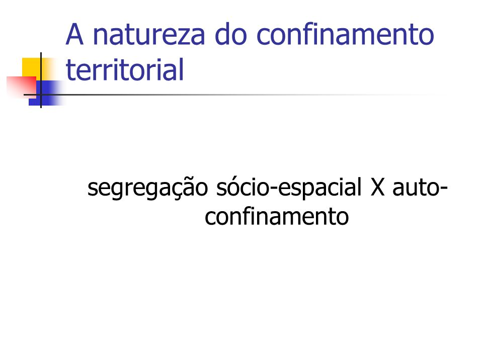 A natureza do confinamento territorial
