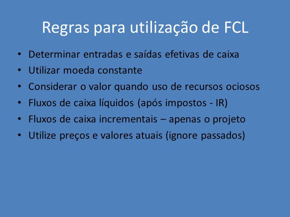 Regras para utilização de FCL