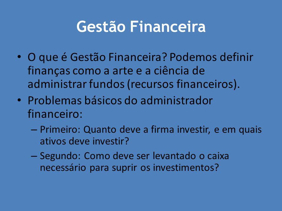 Gestão Financeira O que é Gestão Financeira Podemos definir finanças como a arte e a ciência de administrar fundos (recursos financeiros).