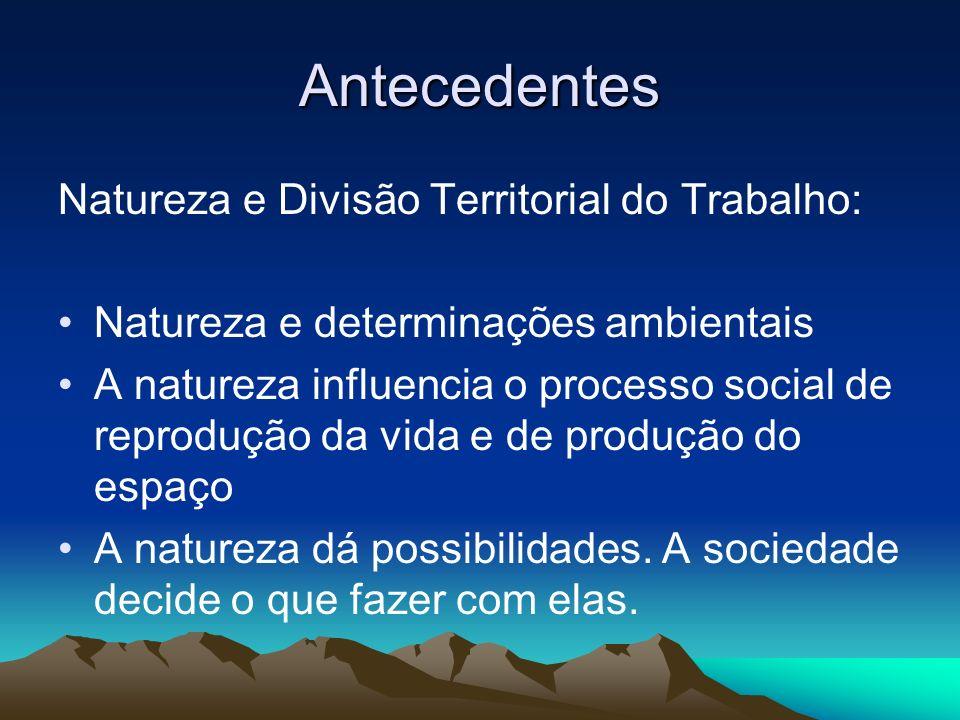 Antecedentes Natureza e Divisão Territorial do Trabalho: