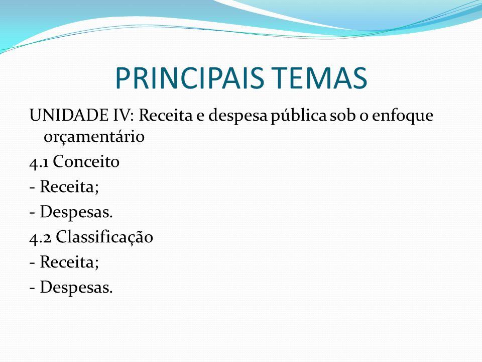 PRINCIPAIS TEMASUNIDADE IV: Receita e despesa pública sob o enfoque orçamentário 4.1 Conceito - Receita; - Despesas.