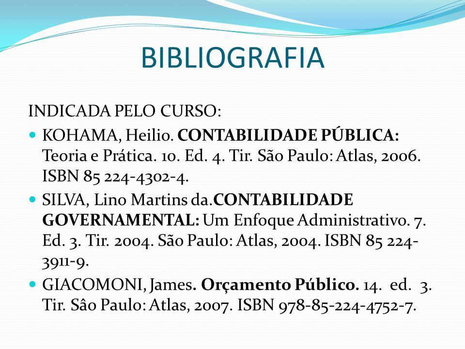 BIBLIOGRAFIA INDICADA PELO CURSO: