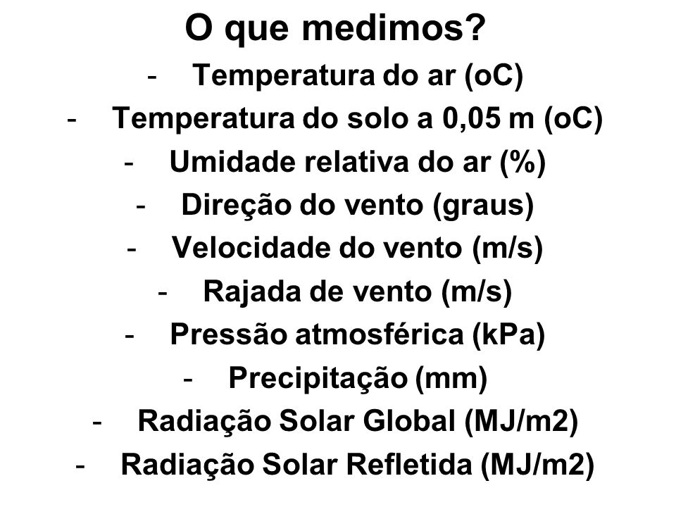 O que medimos Temperatura do ar (oC)
