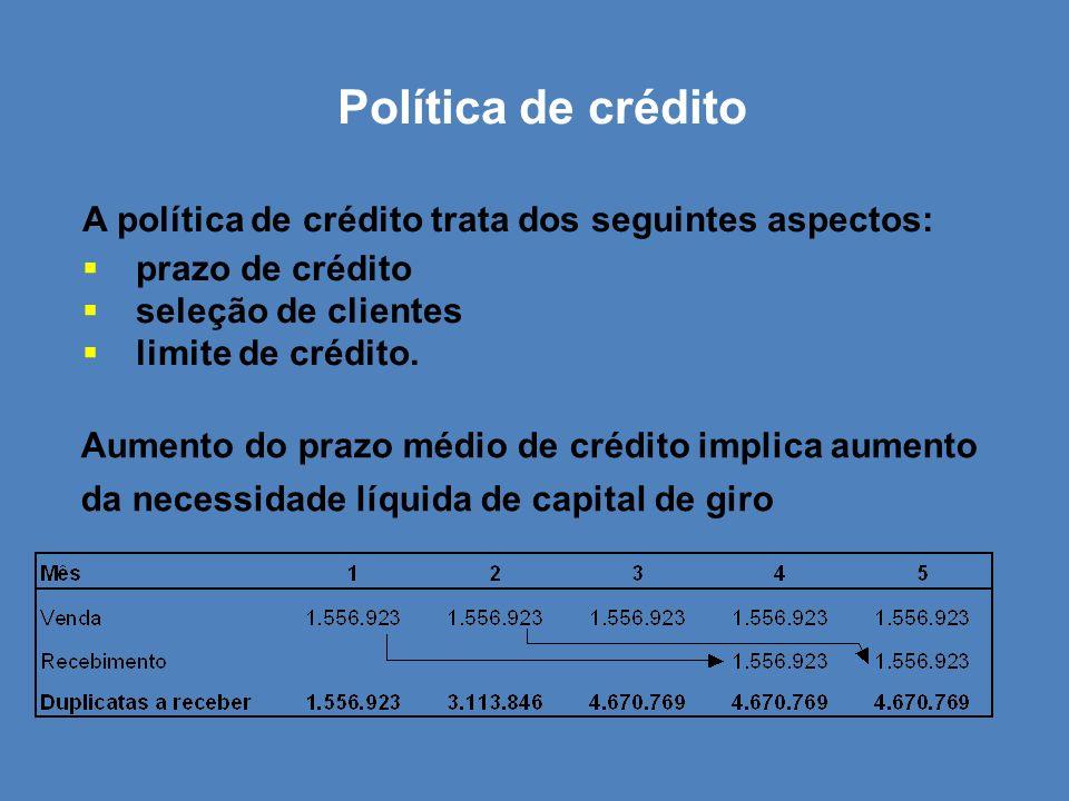 Política de crédito A política de crédito trata dos seguintes aspectos: prazo de crédito. seleção de clientes.