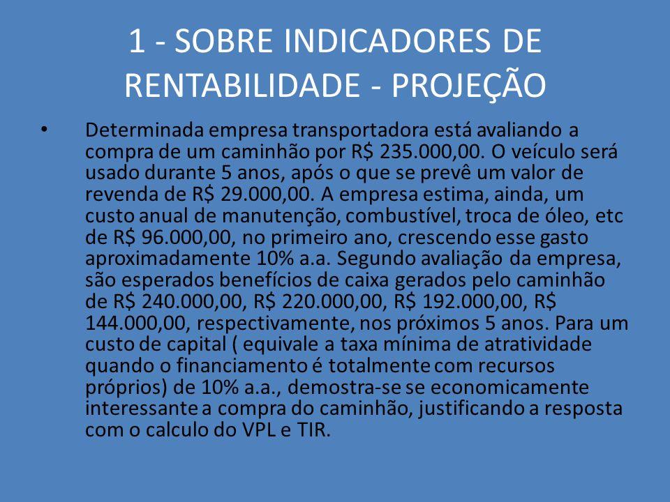 1 - SOBRE INDICADORES DE RENTABILIDADE - PROJEÇÃO