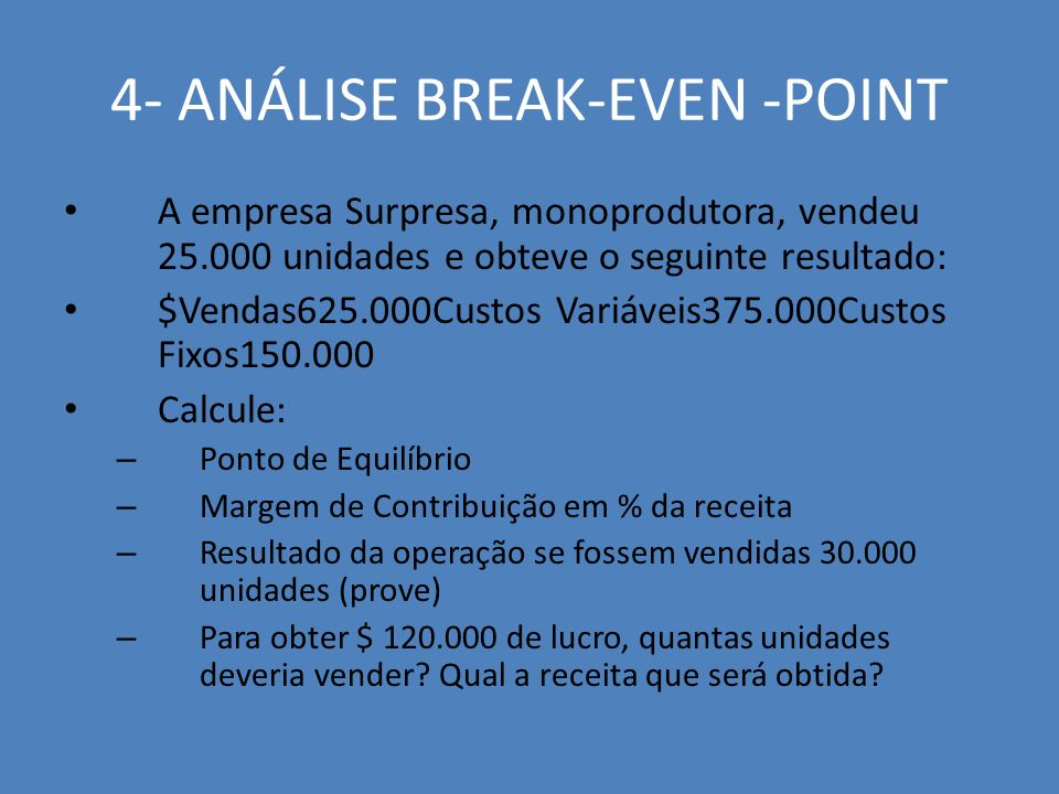 4- ANÁLISE BREAK-EVEN -POINT