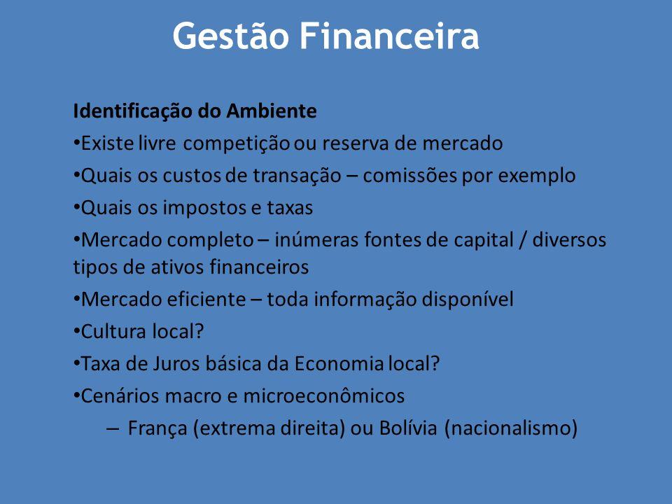 Gestão Financeira Identificação do Ambiente