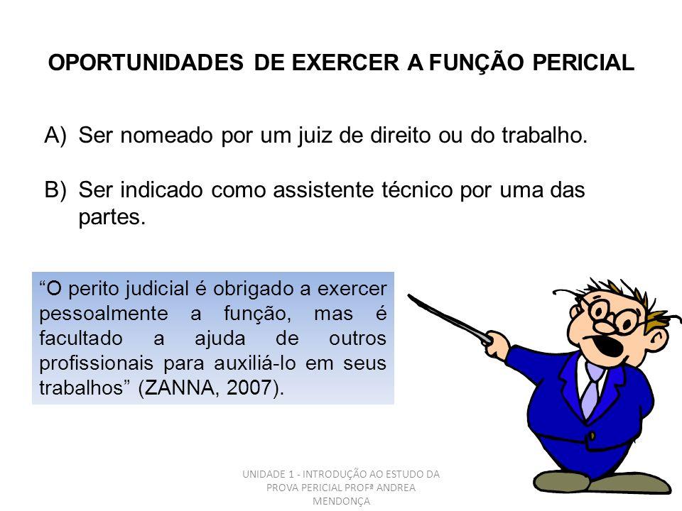 OPORTUNIDADES DE EXERCER A FUNÇÃO PERICIAL