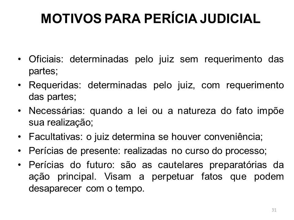 MOTIVOS PARA PERÍCIA JUDICIAL