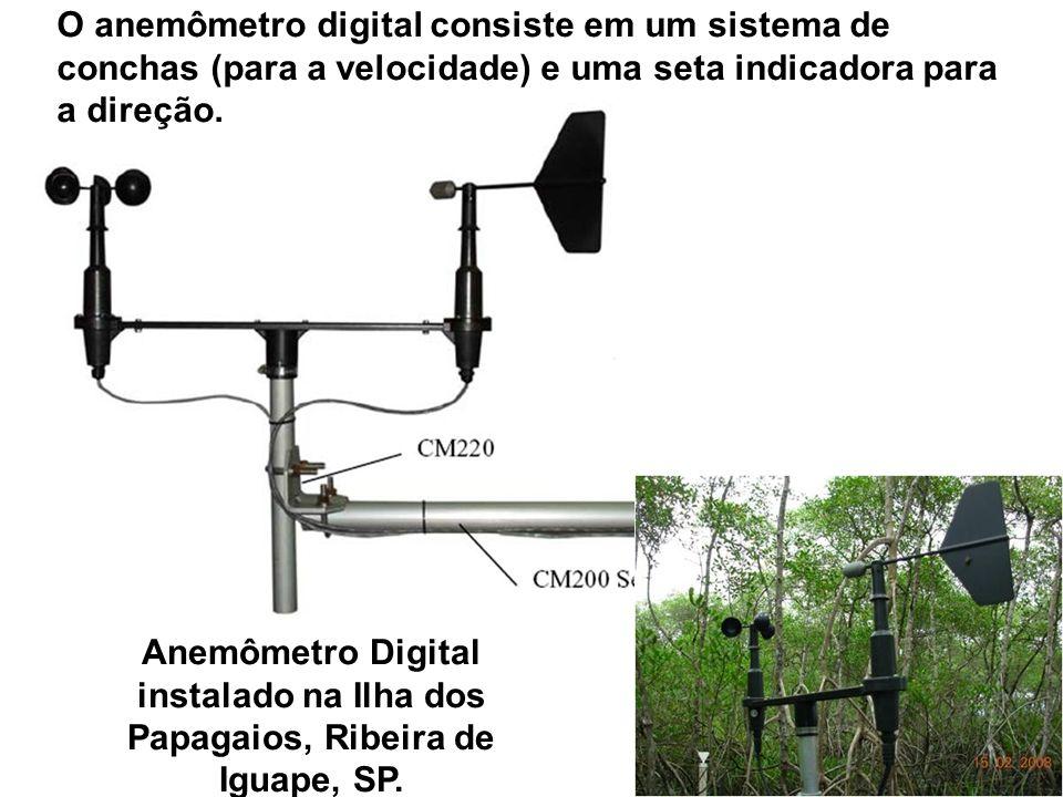 O anemômetro digital consiste em um sistema de conchas (para a velocidade) e uma seta indicadora para a direção.