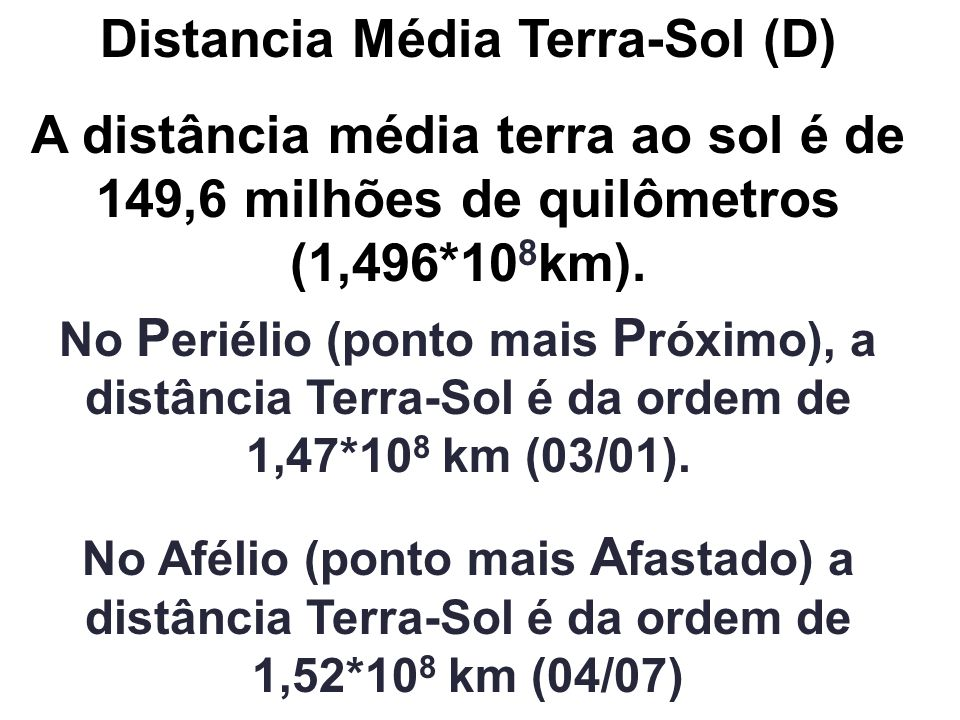 Distancia Média Terra-Sol (D)