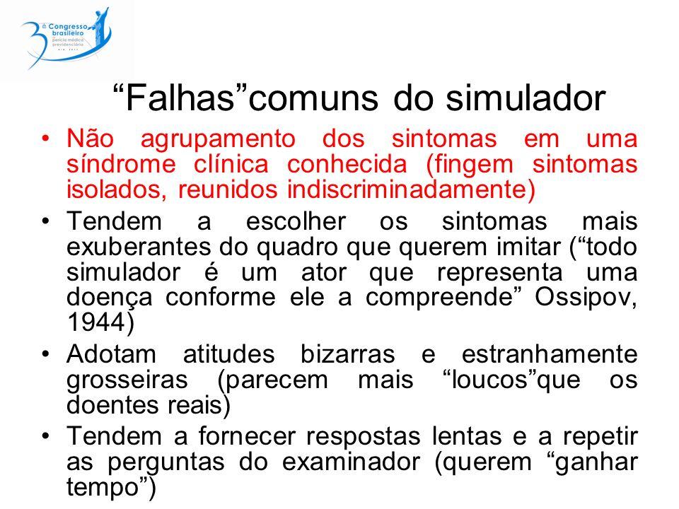 Falhas comuns do simulador