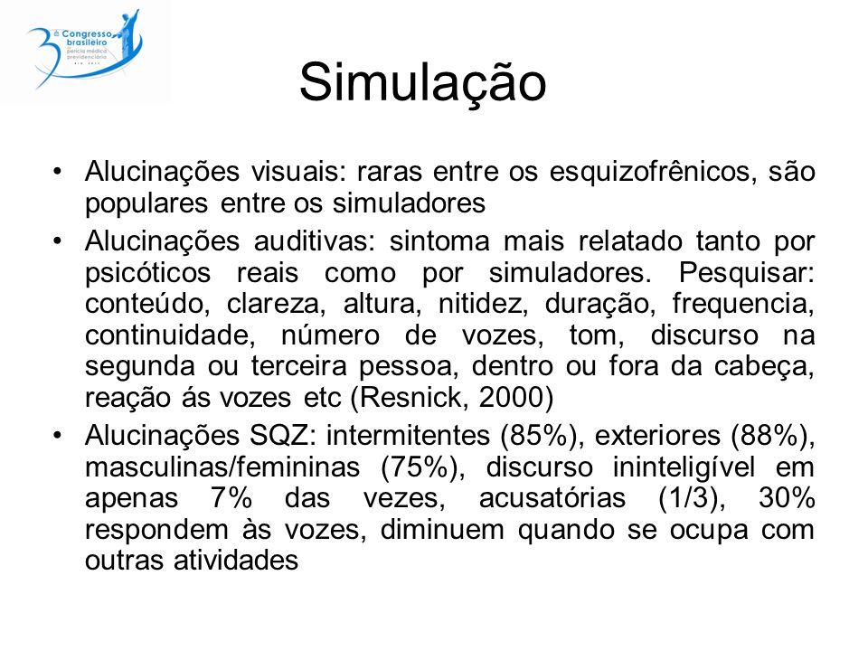 Simulação Alucinações visuais: raras entre os esquizofrênicos, são populares entre os simuladores.