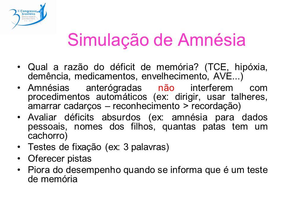 Simulação de Amnésia Qual a razão do déficit de memória (TCE, hipóxia, demência, medicamentos, envelhecimento, AVE...)