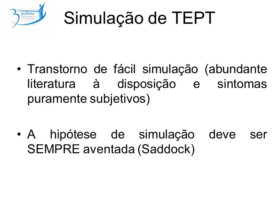 Simulação de TEPT Transtorno de fácil simulação (abundante literatura à disposição e sintomas puramente subjetivos)
