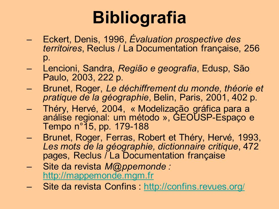 Bibliografia Eckert, Denis, 1996, Évaluation prospective des territoires, Reclus / La Documentation française, 256 p.