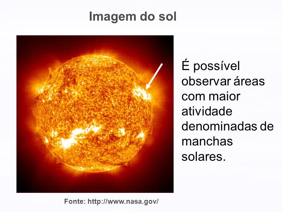 Imagem do sol É possível observar áreas com maior atividade denominadas de manchas solares.
