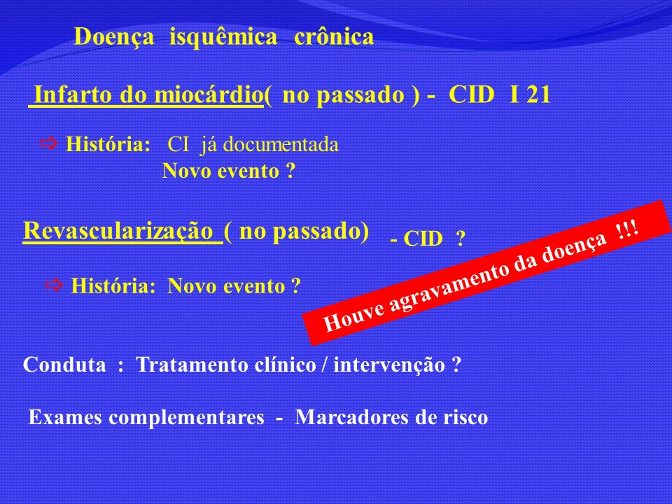 Doença isquêmica crônica Infarto do miocárdio( no passado ) - CID I 21