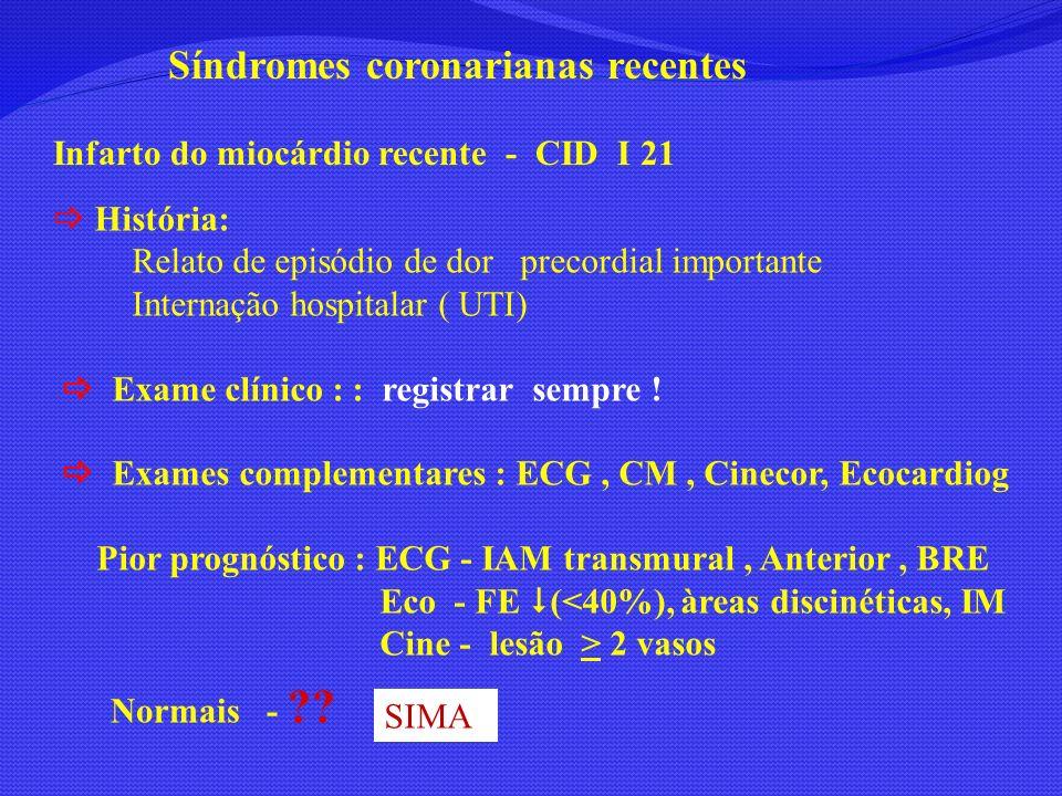 Síndromes coronarianas recentes