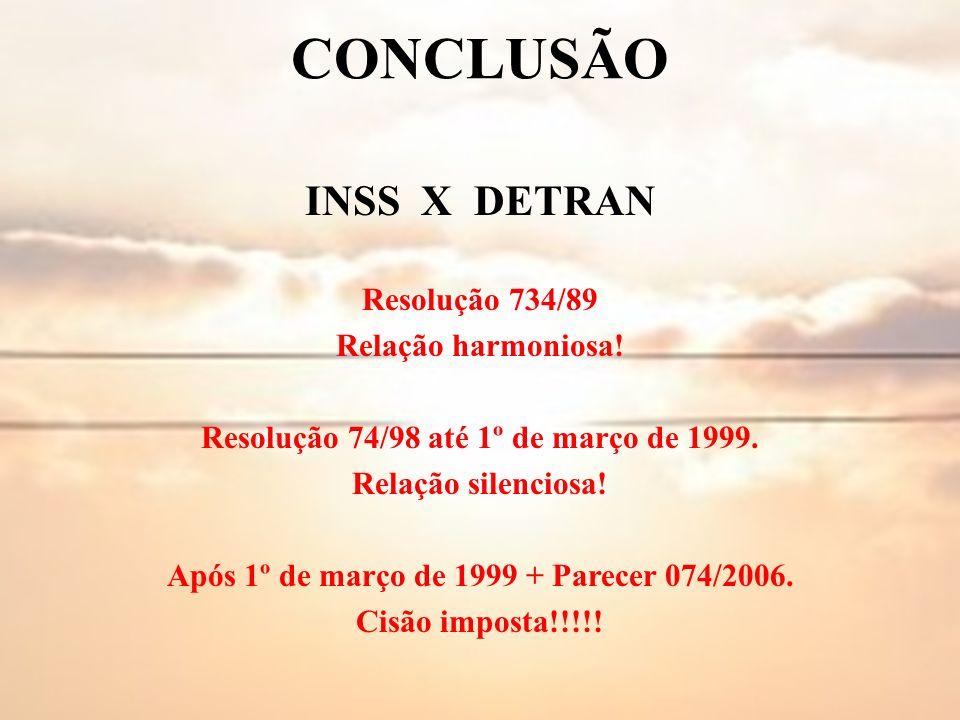 CONCLUSÃO INSS X DETRAN Resolução 734/89 Relação harmoniosa!