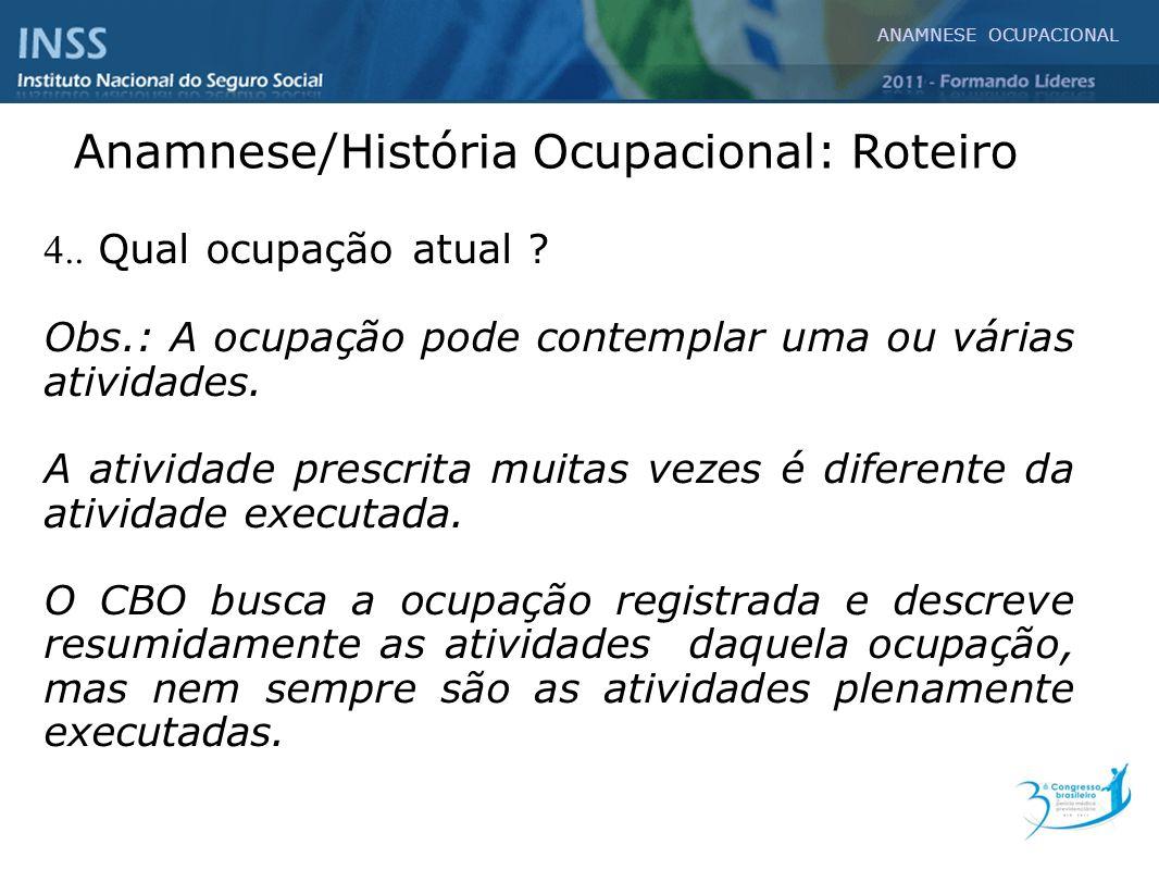 Anamnese/História Ocupacional: Roteiro
