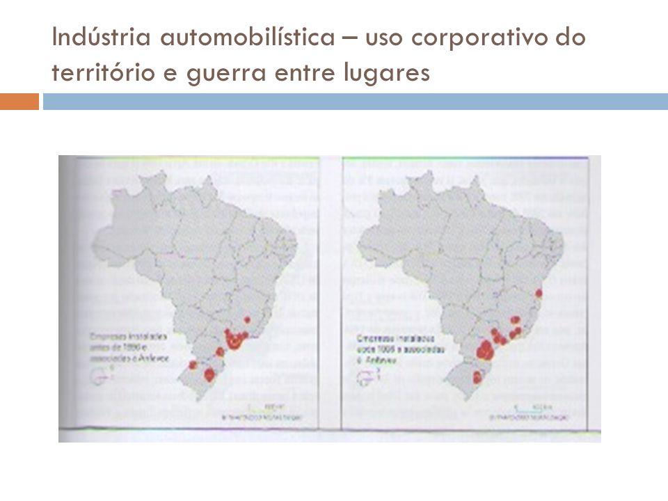 Indústria automobilística – uso corporativo do território e guerra entre lugares
