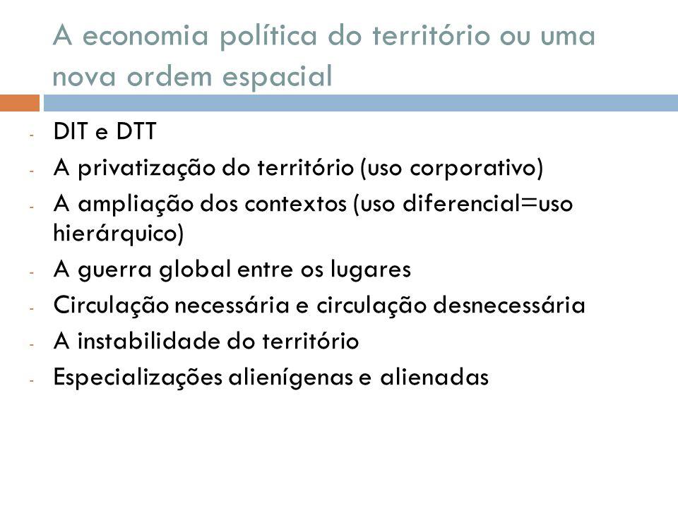 A economia política do território ou uma nova ordem espacial