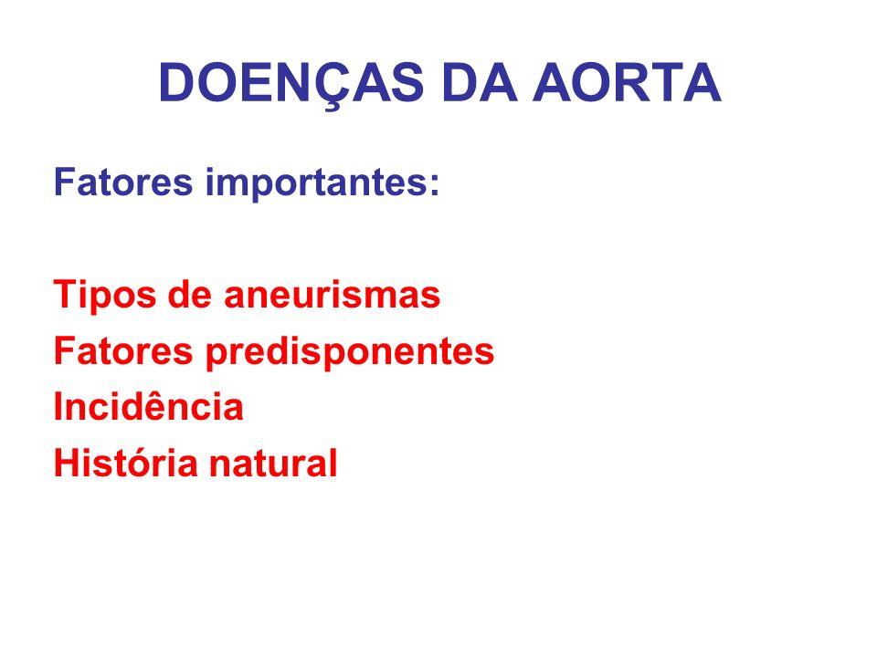 DOENÇAS DA AORTA Fatores importantes: Tipos de aneurismas