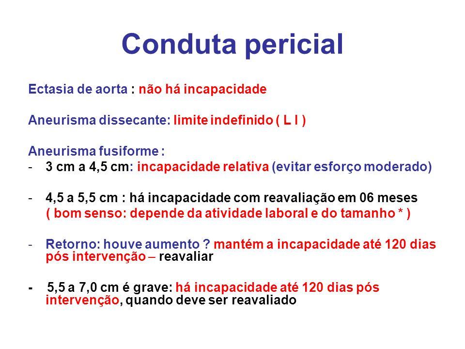 Conduta pericial Ectasia de aorta : não há incapacidade