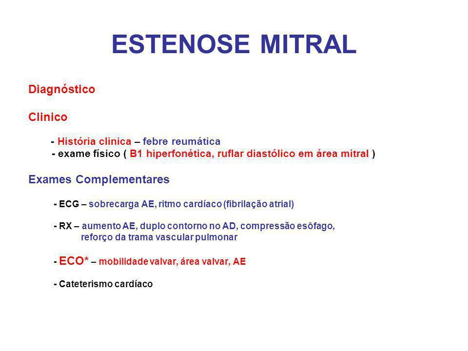 ESTENOSE MITRAL Diagnóstico Clinico Exames Complementares