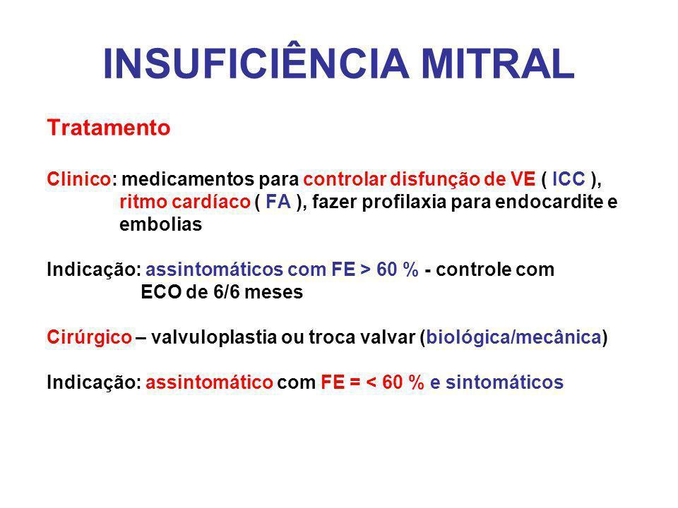 INSUFICIÊNCIA MITRAL Tratamento