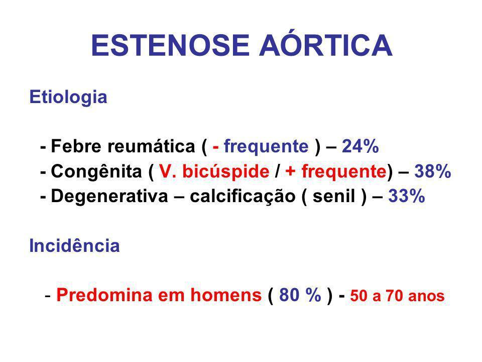 ESTENOSE AÓRTICA Etiologia - Febre reumática ( - frequente ) – 24%