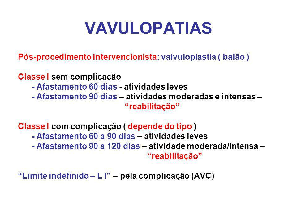 VAVULOPATIAS Pós-procedimento intervencionista: valvuloplastia ( balão ) Classe I sem complicação.