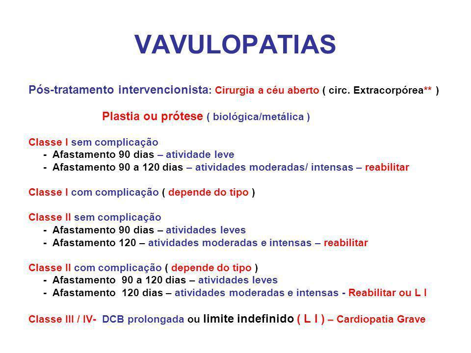 VAVULOPATIAS Pós-tratamento intervencionista: Cirurgia a céu aberto ( circ. Extracorpórea** ) Plastia ou prótese ( biológica/metálica )