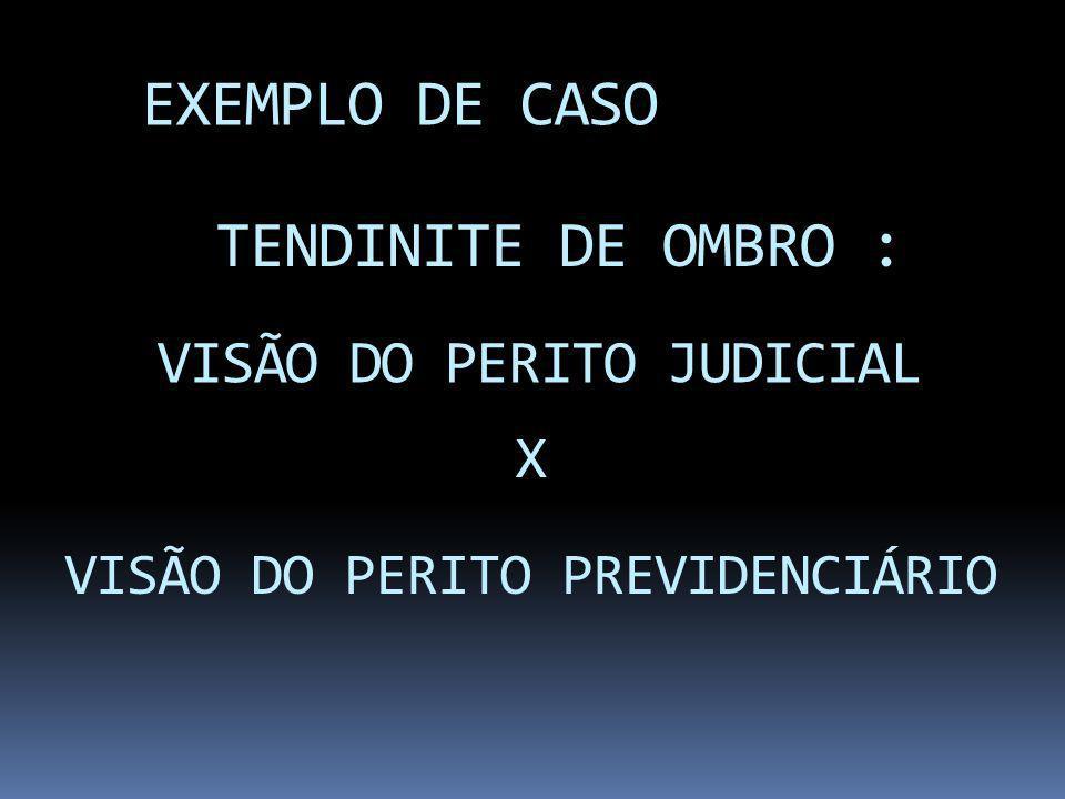 EXEMPLO DE CASO TENDINITE DE OMBRO : VISÃO DO PERITO JUDICIAL X