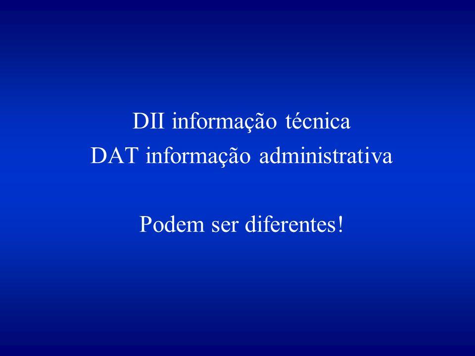 DII informação técnica DAT informação administrativa