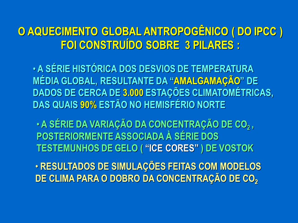 O AQUECIMENTO GLOBAL ANTROPOGÊNICO ( DO IPCC ) FOI CONSTRUÍDO SOBRE 3 PILARES :