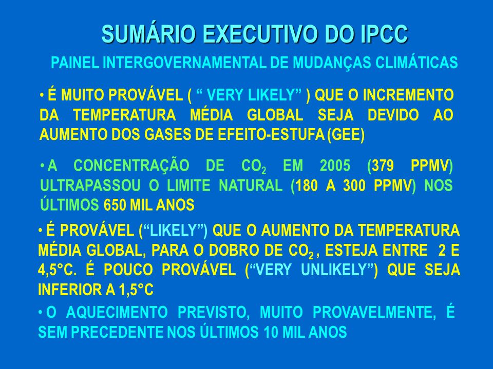 SUMÁRIO EXECUTIVO DO IPCC