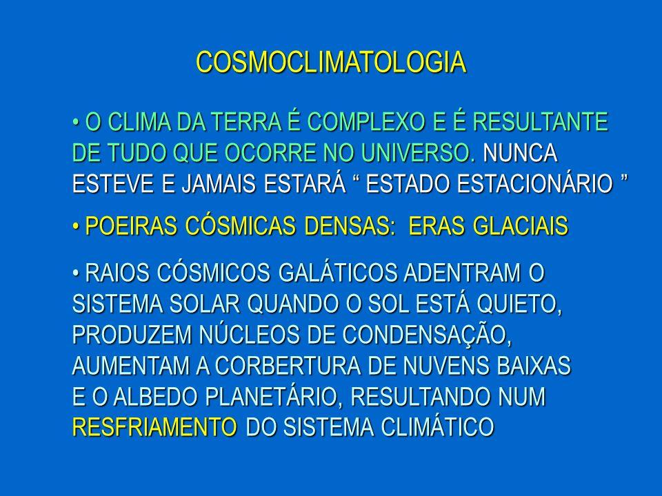 COSMOCLIMATOLOGIA O CLIMA DA TERRA É COMPLEXO E É RESULTANTE DE TUDO QUE OCORRE NO UNIVERSO. NUNCA ESTEVE E JAMAIS ESTARÁ ESTADO ESTACIONÁRIO