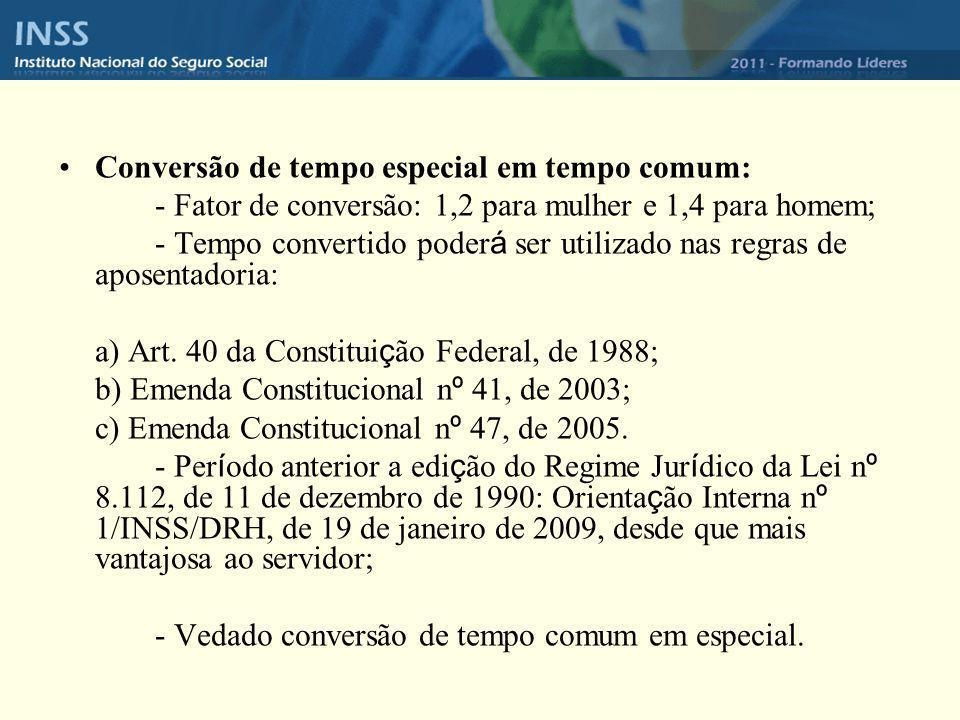 Conversão de tempo especial em tempo comum: