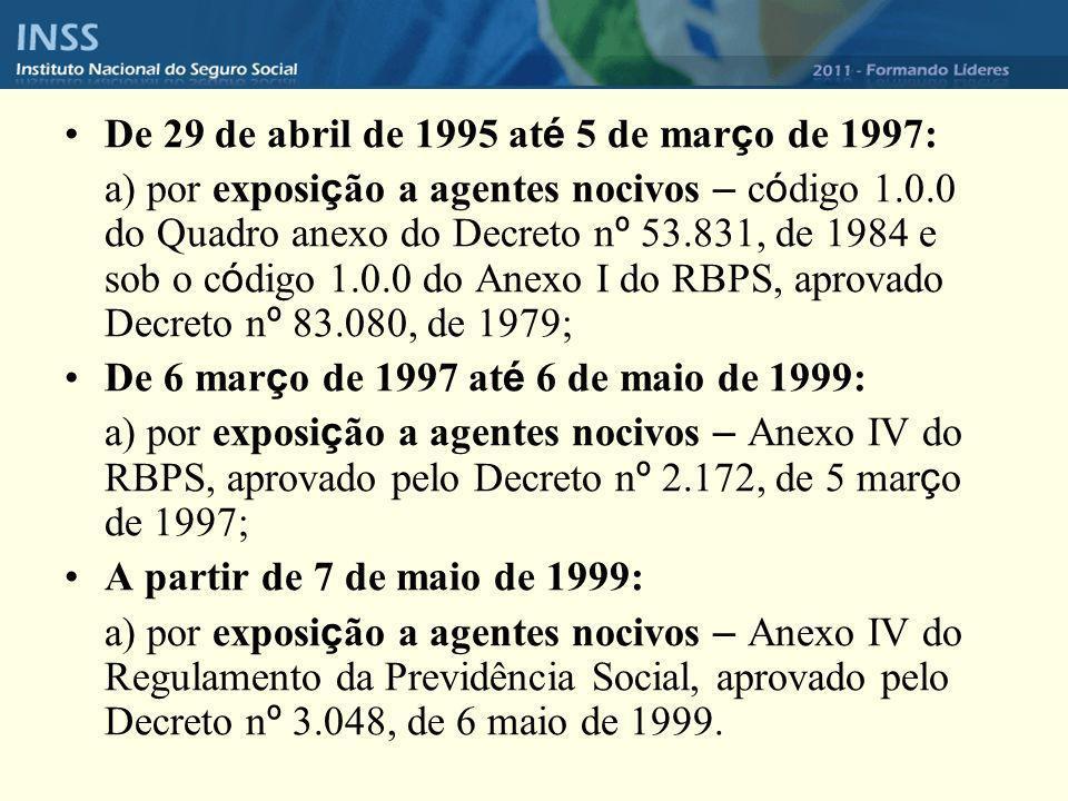 De 29 de abril de 1995 até 5 de março de 1997: