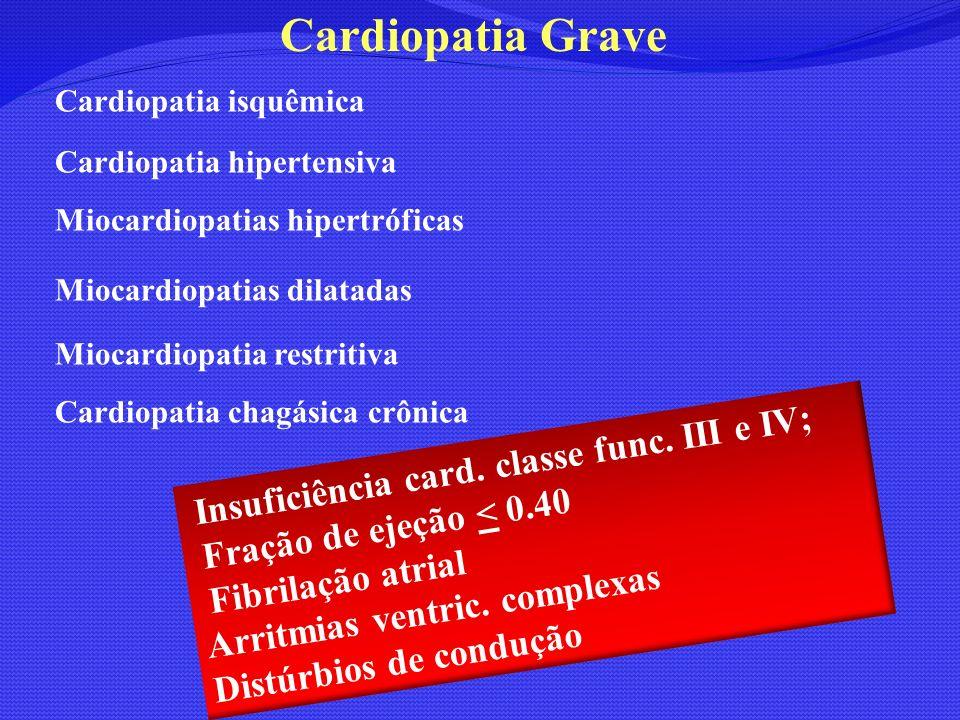 Cardiopatia Grave Fração de ejeção < 0.40 Fibrilação atrial
