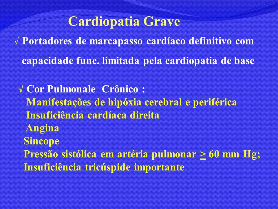 Cardiopatia Grave capacidade func. limitada pela cardiopatia de base