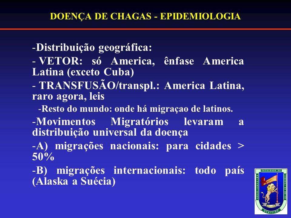 DOENÇA DE CHAGAS - EPIDEMIOLOGIA