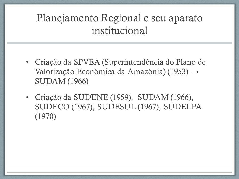 Planejamento Regional e seu aparato institucional